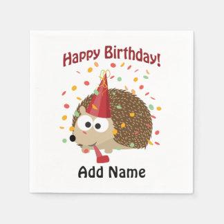 Serviette Jetable Hérisson de confettis de joyeux anniversaire