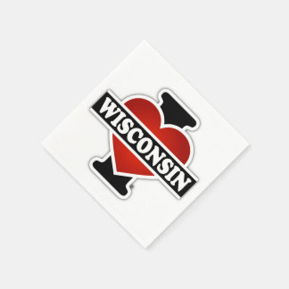 Serviette Jetable I coeur le Wisconsin