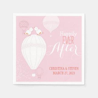 Serviette Jetable Inséparables sur le mariage rose chaud de ballons