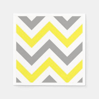Serviette Jetable Jaune, motif de zigzag blanc gris du DK grand