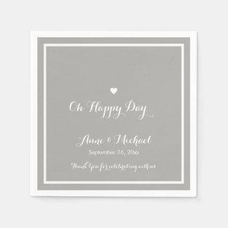 Serviette Jetable jour heureux épousant la partie de réception grise