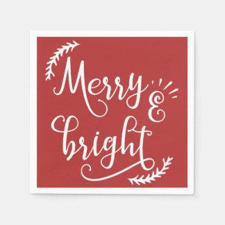Serviette Jetable joyeuses et lumineuses vacances de Noël
