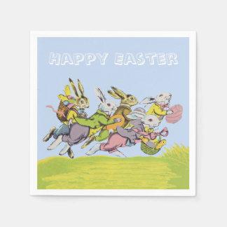 Serviette Jetable Joyeuses Pâques courant les lapins en pastel