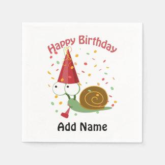 Serviette Jetable Joyeux anniversaire ! Escargot de confettis