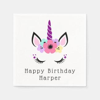 Serviette Jetable Joyeux licorne magique de l'anniversaire  