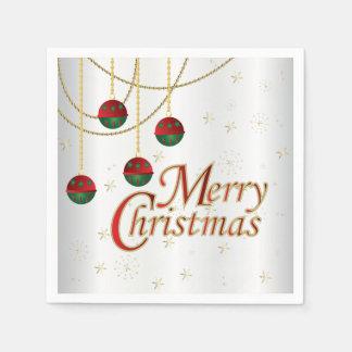 Serviette Jetable Joyeux Noël blanc lumineux