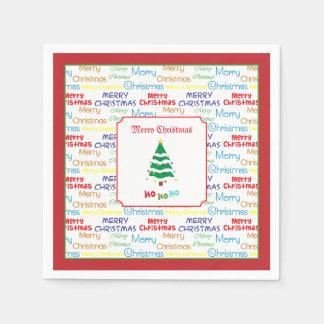 Serviette Jetable Joyeux Noël et arbre de Noël