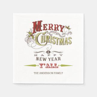 Serviette Jetable Joyeux Noël fait sur commande vous serviettes de