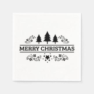 Serviette Jetable Joyeux Noël noir et blanc