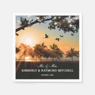 Serviette Jetable La ficelle tropicale de coucher du soleil de plage