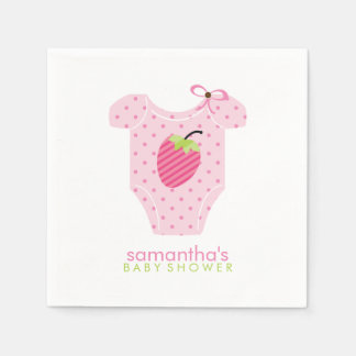 Serviette Jetable La fraise rose pointille le baby shower