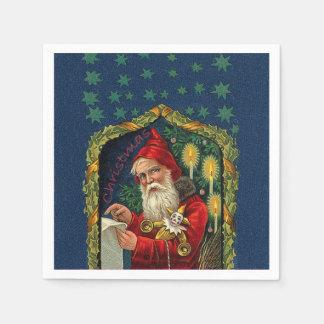 Serviette Jetable La liste de vérification victorienne de Père Noël