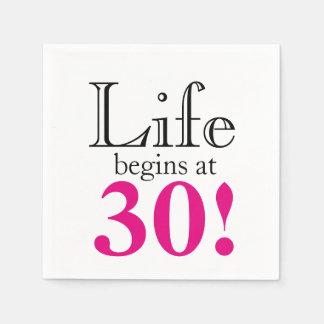 Serviette Jetable La vie commence à 30