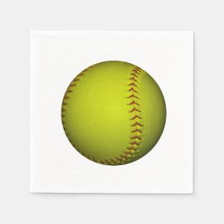 Serviette Jetable Le base-ball jaune au néon