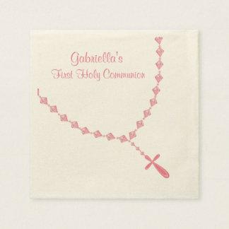 Serviette Jetable Le chapelet rose perle la serviette personnalisée