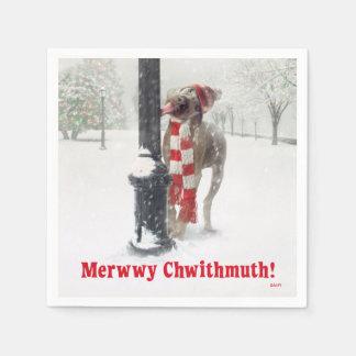 Serviette Jetable Le chien drôle de Noël lèche Polonais