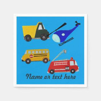 Serviette Jetable Le feu, camion de sable, autobus scolaire et