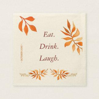 Serviette Jetable Le feuille orange de rouille d'automne mange la