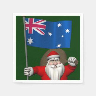 Serviette Jetable Le père noël avec le drapeau de l'Australie