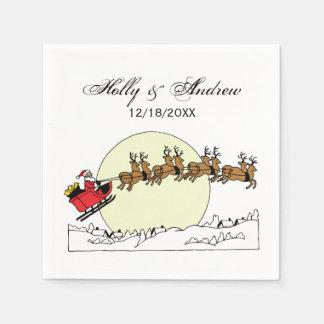 Serviette Jetable Le renne de Père Noël au-dessus de la neige a