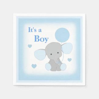 Serviette Jetable L'éléphant de gris bleu de douche de bébé arrosent