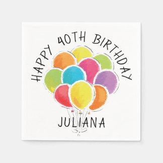Serviette Jetable Les ballons colorés de joyeux anniversaire