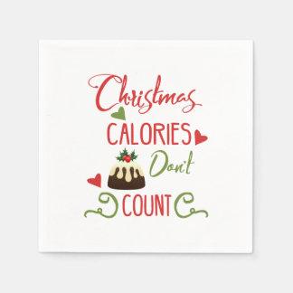 Serviette Jetable les calories de Noël ne comptent pas la citation