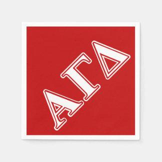 Serviette Jetable Lettres rouges et blanches d'alpha delta gamma