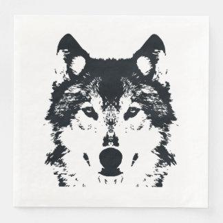 Serviette Jetable Loup noir d'illustration