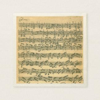 Serviette Jetable Manuscrit de musique de violon de Bach Chaconne