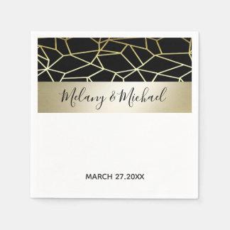 Serviette Jetable Mariage blanc de /Black d'or de luxe géométrique