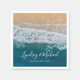 Serviette Jetable Mariage bleu d'océan de plage élégante