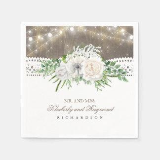 Serviette Jetable Mariage campagnard rustique de fleurs blanches