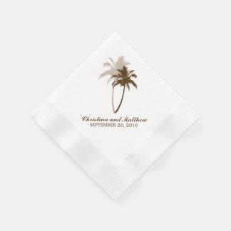 Serviette Jetable Mariage de plage de palmiers de Brown