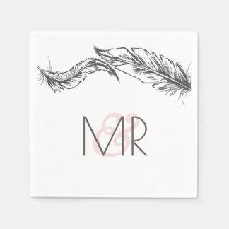 Serviette Jetable Mariage élégant de plumes grises et blanches