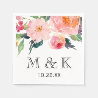 Serviette Jetable Mariage floral de monogramme de couples