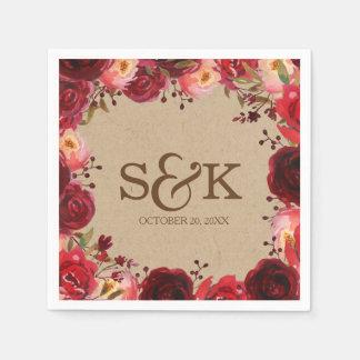 Serviette Jetable Mariage floral de roses rouges de Bourgogne