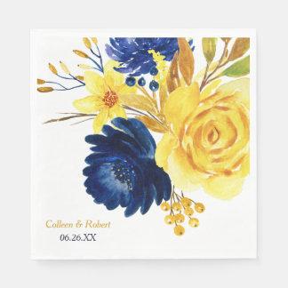 Serviette Jetable Mariage floral lumineux de bleu marine d'or
