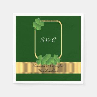 Serviette Jetable Mariage irlandais de vert, d'or et de shamrock