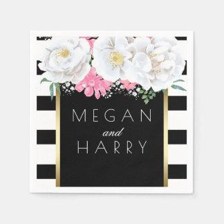 Serviette Jetable Mariage vintage floral noir d'or blanc