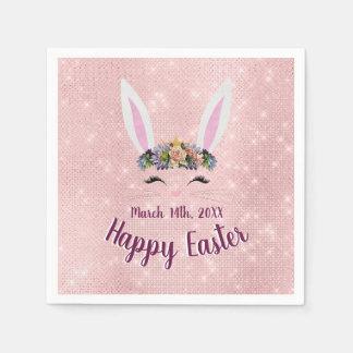 Serviette Jetable Mignon rougissent le lapin de Pâques heureux rose