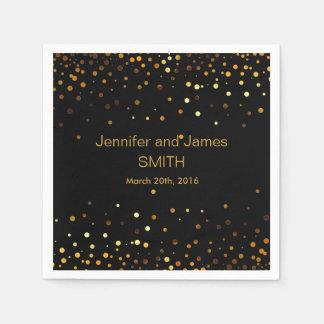 Serviette Jetable Mini noir d'or de confettis de Tableau élégant de