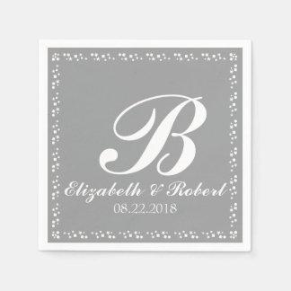 Serviette Jetable Monogramme argenté de mariage de blanc gris