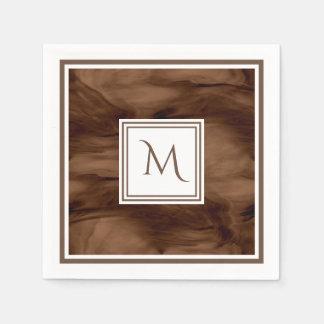 Serviette Jetable Monogramme moderne de marbre subtil foncé simple