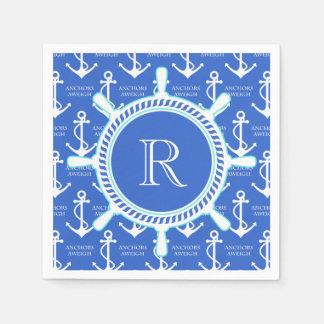 Serviette Jetable Monogramme nautique côtier d'ancre bleue