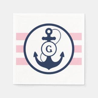 Serviette Jetable Monogramme nautique rose d'ancre