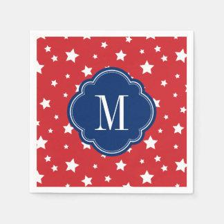 Serviette Jetable Monogramme patriotique blanc et bleu rouge