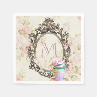Serviette Jetable monogramme vintage floral girly élégant moderne de