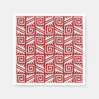 Serviette Jetable Motif aztèque d'Ikat - rouge foncé et blanc