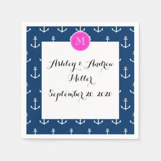Serviette Jetable Motif blanc d'ancres de bleu marine, monogramme de